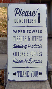 Please Do Not Flush Toilet Paper Only Septic Safe Bathroom Farmhouse Distressed Wood Vinyl Sign Handmade Vintage Style Shabby Cottage Chic - Heartfelt Giver