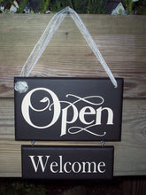 Load image into Gallery viewer, Open Welcome Closed Please Come Again Wood Vinyl Two Tier Sign Reversible Two Sided Sign For Any Office Or Business Entry Front Door Decor - Heartfelt Giver