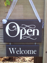 Load image into Gallery viewer, Open Welcome Closed Please Come Again Wood Vinyl Two Tier Sign Reversible Two Sided Sign For Any Office Or Business Entry Front Door Decor