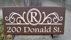 Monogram Initial Last Name House Number Plaque Street Address Sign For Yard Wood Vinyl Sign Brown Porch Sign Family Wall Decor Wall Hangings - Heartfelt Giver