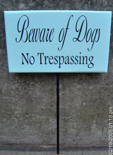Load image into Gallery viewer, Beware Of Dogs No Trespassing Wood Vinyl Yard Stake Sign No Trespass Front Yard Decor Entry Home Sign Pet Supplies Dog Lover Gifts Warning