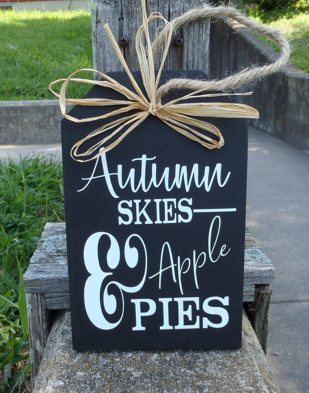 Fall Signs Harvest Sign Autumn Skies Pumpkin Pies Wood Tag Signs Front Door Decor Entry Porch Wall Decor Wreath Accent Outdoor Decorations