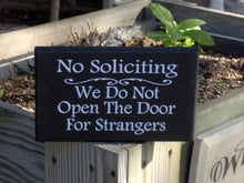 Load image into Gallery viewer, No Soliciting Do Not Open Door For Strangers Wood Sign Vinyl Home Decor Front Door Hanger Privacy Sign Do Not Disturb Yard Sign Porch Sign