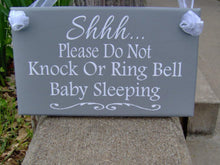 Load image into Gallery viewer, Please Do Not Knock Or Ring Bell Baby Sleeping Wood Sign Vinyl Home Decor Door Hanger Babies Infants New Mom Mother's Day Gift For Her Signs