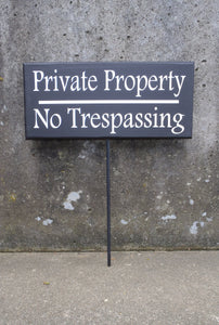 Private Property No Trespassing Wood Vinyl Front Yard Stake Decorative Signs Home Owner Business Owner Contractor Outdoor Signage Lawn Decor