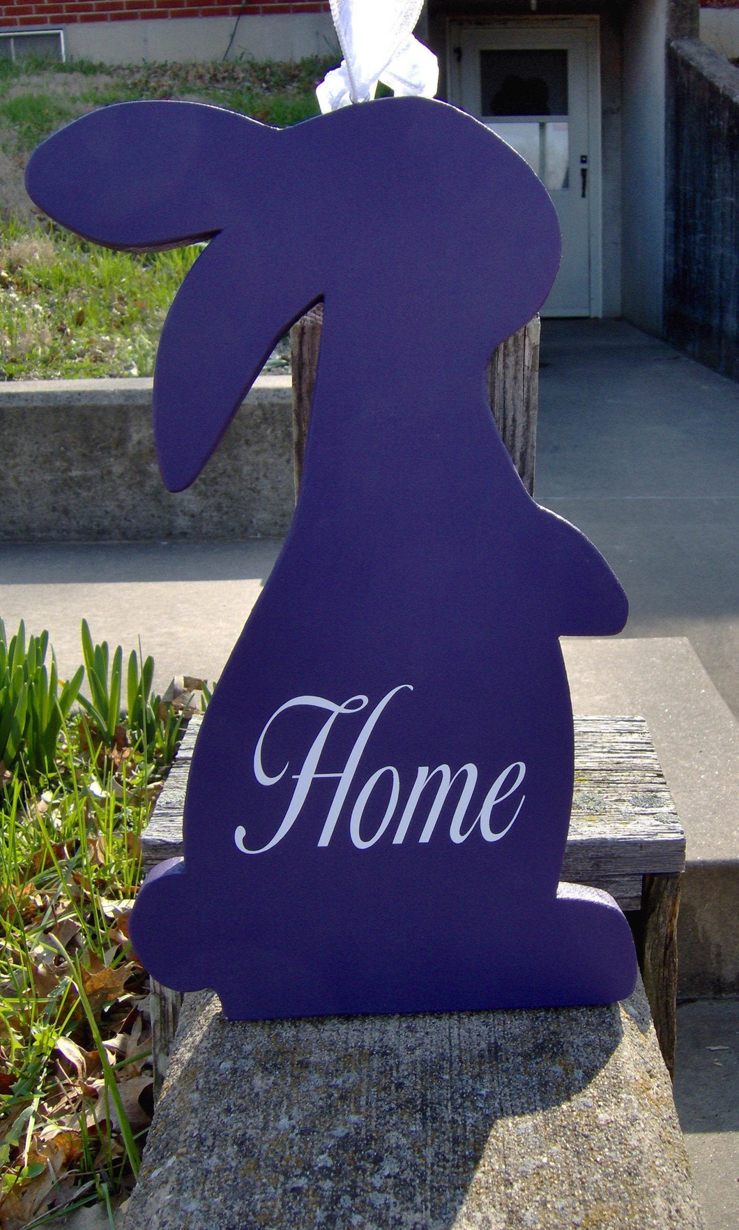 Bunny Rabbit Cutout Wood Vinyl Sign Porch Sign Home Decor Daily Front Door Decor Privacy Purple Outdoor Entryway Sign Holiday Themed Signage - Heartfelt Giver