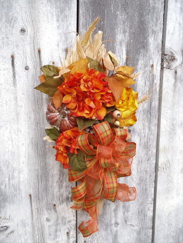 Fall Swag Wreath For Front Door Hanger Fall Flower Arrangement