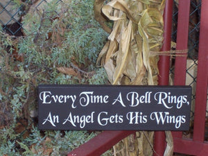 Christmas Signs Every Time Bell Rings Angel Gets His Wings Holiday Wooden Signage Vinyl Sign Wall Hanging Gifts Home Decorations Ornaments - Heartfelt Giver