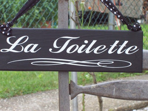 La Toilette Wood Vinyl Bathroom Door Sign Restroom Powder Room Sign Washroom Wall Sign French Paris Home Decor Business Sign Office Decor - Heartfelt Giver