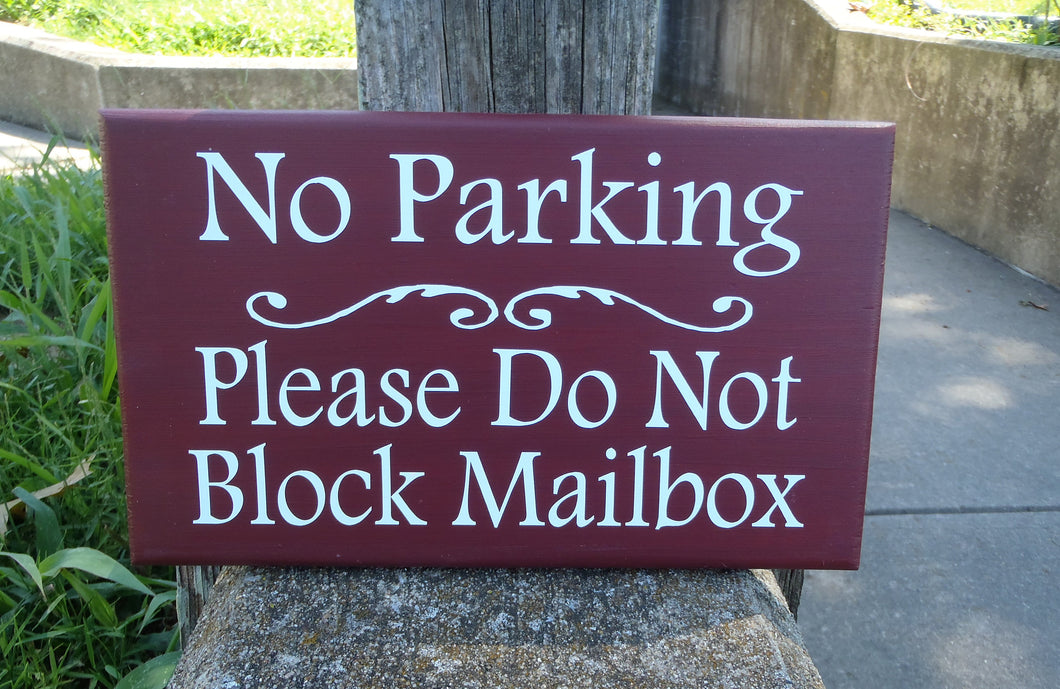 No Parking Please Do Not Block Mailbox Wood Vinyl Sign Driveway Marker Sign Entrance Garage Wall Hanging Wall Plaque Front Yard Decor Art