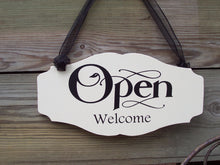 Load image into Gallery viewer, Open Welcome Closed Please Come Again Wood Vinyl Sign Business Signs For Windows Office Daily Entryway Door Decor Signage Indoor Inside Art