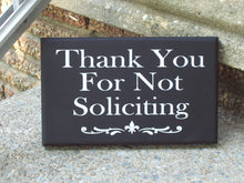 Load image into Gallery viewer, Thank You No Soliciting Wood Vinyl Signs New Home Gift Entryway Decor Gift Ideas For Family Outdoor Front Porch Decor Interior Exterior Door
