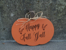 Load image into Gallery viewer, Fall Door Decor Pumpkin Happy Fall Yall With Wheat Silhouette Wood Vinyl Sign Entry Door Harvest Decor Thanksgiving Decorations Autumn Decor