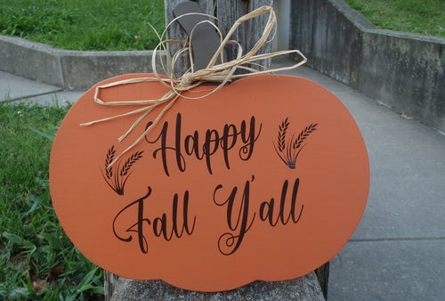 Fall Door Decor Pumpkin Happy Fall Yall Wood Vinyl Sign