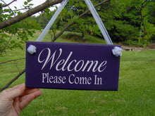 Load image into Gallery viewer, Welcome Please Come In Wood Vinyl Welcome Sign Home Business Sign Office Supply Purple Door Hanger Office Decor Custom Grand Opening Signs