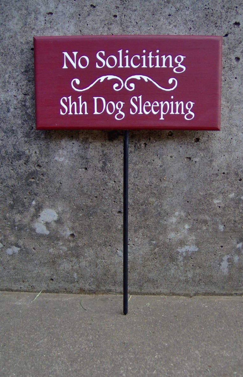 No Soliciting Shh Dogs Sleeping Wood Signs Vinyl Stake Beware Of Dog Sign Warning Security Guard Dog Family Pet Supplies Yard Sign Door Sign - Heartfelt Giver