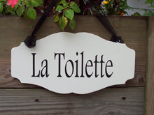 Load image into Gallery viewer, La Toilette Wood Vinyl Sign French Cottage Style Bathroom Sign Decor