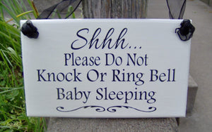 Please Do Not Knock Ring Bell Baby Sleeping Wood Sign Vinyl Front Door Decor Mother To Be Baby Wall Decor Wall Hanging Decor Shower Gift Art