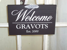 Load image into Gallery viewer, Welcome Sign Last Name Established Hanging Door Plaque Wood Vinyl Sign for Exterior Front Entryway Porch Custom Wood Sign New Home Gift Art