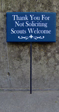 Load image into Gallery viewer, Thank You Not Soliciting Scouts Welcome Sign Wood Vinyl Stake Sign Fleur De Lis Art Lawn Sign Yard Sign Garden Decor New Home Gift Navy Blue