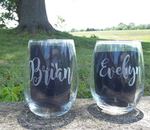 Load image into Gallery viewer, Wine Decanter Set Monogram Initial Stemless Last Name Wine Glasses Permanent Etched Engraved Personalized Bar Decor Wedding Gift New Home