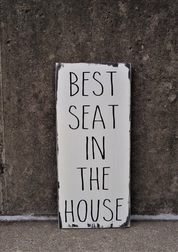 Best Seat In The House Bathroom Wall Decor Wood Vinyl Sign Vertical Distressed Rustic Farmhouse Decor Wall Hanging Powder Room Restroom Sign - Heartfelt Giver