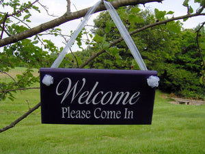Welcome Please Come In Wood Vinyl Welcome Sign Home Business Sign Office Supply Purple Door Hanger Office Decor Custom Grand Opening Signs