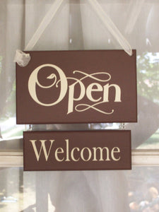 Open Closed Welcome Please Come Again Wood Vinyl Sign Two Sided Business Sign Plaque Office Sign Office Supplies Brown Massage Spa Salon Art - Heartfelt Giver