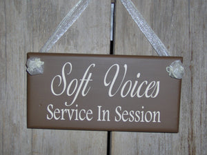 Soft Voices Service In Session Wood Vinyl Sign Brown Business Sign Office Supplies Massage Spa Therapy Quiet Please Plaque Door Modern Sign