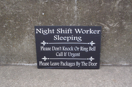 Night Shift Worker Do Not Ring Knock Leave Packages Door Wood Vinyl Sign Delivery Front Porch Entryway Door Hanging Signs