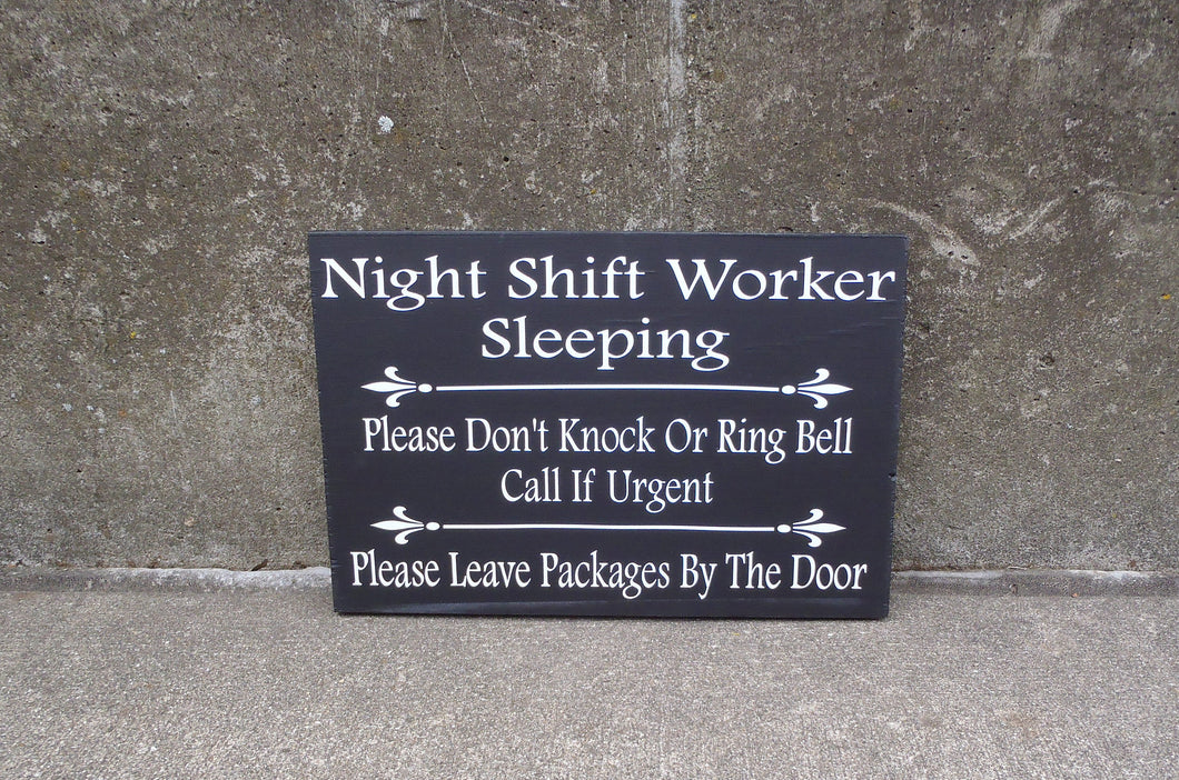 Night Shift Worker Do Not Ring Knock Leave Packages Door Wood Vinyl Sign Delivery Front Porch Entryway Door Hanging Signs - Heartfelt Giver