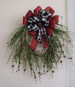 Country Front Door Wreath Primitive Farmhouse Style With Rusty Stars Rusty Bell Winter Decoration For Entrance Foyer Home or Business Decor