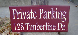 Private Parking House Number Street Address Wood Vinyl Sign Outdoor Garage Sign Driveway Sign Home Decor Sign Porch Sign Home Decor Office