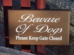 Beware Dogs Please Keep Gate Closed Wood Vinyl Sign Fence Wooden Gate Outdoor Security Protection Safety Warning Pet Supplies Dog Owner Gift