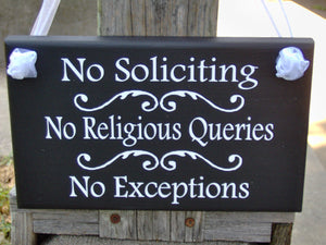 No Soliciting No Religious Queries No Exceptions Wood Vinyl Sign Do Not Disturb Entryway Everyday Home Decor Front Door Wood Sign Wall Decor