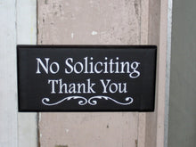 Load image into Gallery viewer, No Soliciting Thank You Wood Vinyl Sign Door Hanger Wall Hanging Everyday Porch Decor Garden Yard Sign Do Not Disturb Private Property Gift - Heartfelt Giver