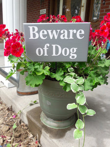 Beware of Dog Wood Vinyl Stake Sign Plaque Gray Yard Sign Porch Sign Outdoor Sign Garden Decoration Security Gray Yard Decor Dog Lover Gift