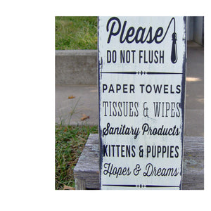 Please Do Not Flush Toilet Paper Only Bathroom Farmhouse Distressed Wood Vinyl Sign Restroom Washroom  Home Decor Restaurant Business Supply