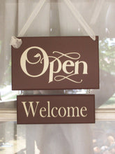 Load image into Gallery viewer, Open Closed Welcome Please Come Again Wood Vinyl Sign Two Sided Business Sign Plaque Office Sign Office Supplies Brown Massage Spa Salon Art - Heartfelt Giver
