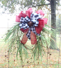 Load image into Gallery viewer, Country Front Door Wreath Primitive Farmhouse Style With Rusty Stars Rusty Bell Winter Decoration For Entrance Foyer Home or Business Decor