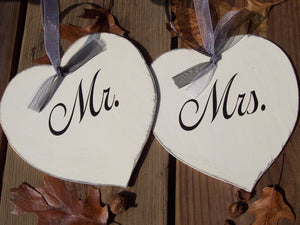 Mr. Mrs. Signs Wedding Hearts Chair Hanger Wood Decor Bride Groom Party Supplies Shabby Farmhouse Style Country Theme - Heartfelt Giver