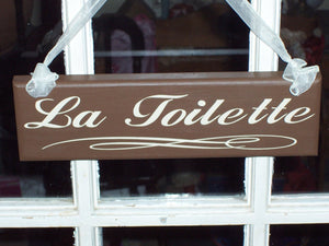 La Toilette Wood Vinyl Bathroom Door Sign Restroom Powder Room Sign Washroom Wall Sign French Paris Home Decor Business Sign Office Decor