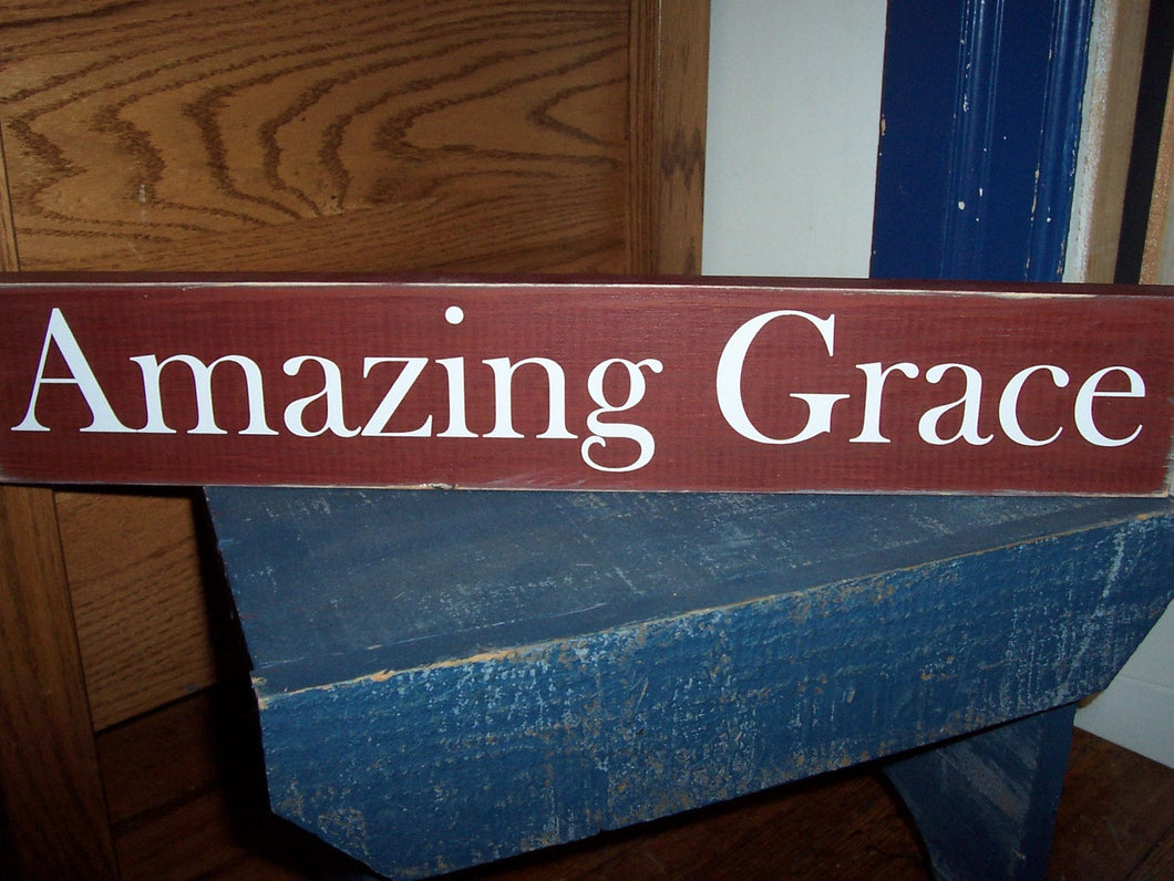 Amazing Grace Wood Sign Vinyl Design Wall Hanging Home Decor Shelf Sitter Block Signs Table Sign Rustic Red Wall Decor Porch Sign Country