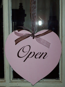 Pink Shabby Cottage Chic Open Closed Sign Heart Wood Vinyl Sign Distressed Door Signs For Office Business Office Supplies Beauty Salon Sign