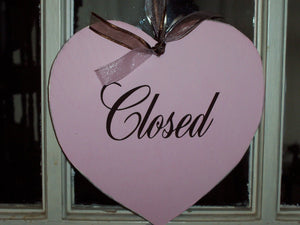 Pink Shabby Cottage Chic Open Closed Sign Heart Wood Vinyl Sign Distressed Door Signs For Office Business Office Supplies Beauty Salon Sign - Heartfelt Giver