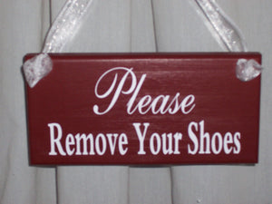 Primitive Shabby Farmhouse Country Rustic Red Please Remove Your Shoes Wood Vinyl Sign Door Hanger Take Off Shoes Porch Sign Home Decor Sign