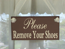 Load image into Gallery viewer, Remove Shoes Door Signs Wooden Vinyl Sign Take Off Shoes Front Porch Sign Entryway Display Signs Exterior or Interior Home or Business Decor