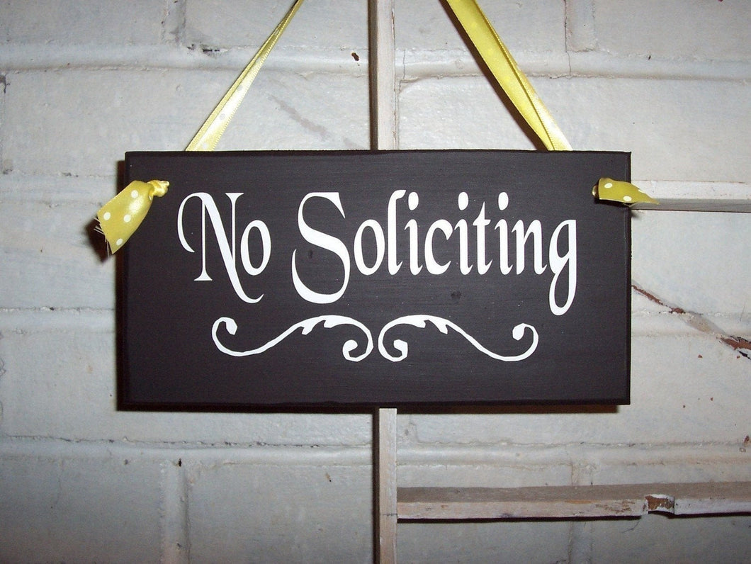 No Soliciting Flourish Design Wood Vinyl Sign Entry Door Hanger Home Decor Do Not Disturb Personalized Handmade Outdoor Sign Wooden Signage