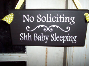 No Soliciting Shh Baby Sleeping Wood Vinyl Sign Baby Shower Gift Ideas - Heartfelt Giver