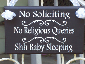 No Soliciting No Religious Queries Shh Baby Sleeping Wood Vinyl Sign Baby Shower Gift New Mom New Baby Outdoor Sign Entry Sign Front Door
